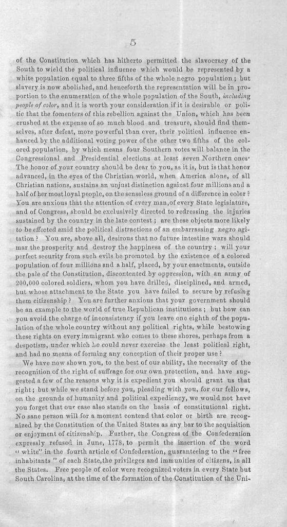 Equal Suffrage: Address from the Colored Citizens of Norfolk