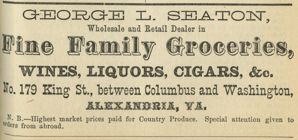 Advertisement for George Seaton's Grocery Store