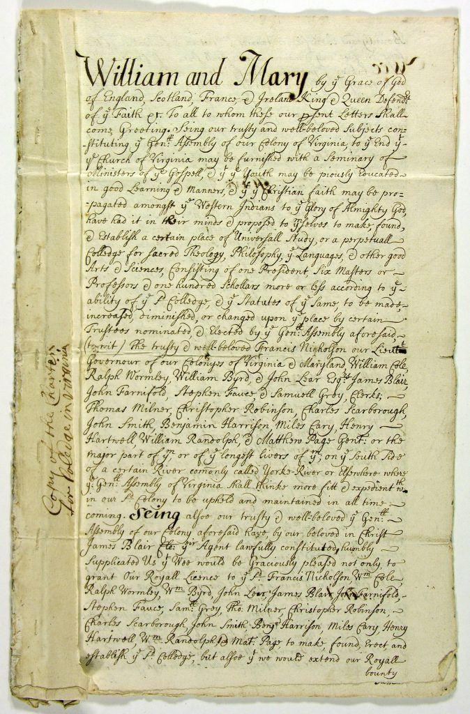 Royal Charter for the College of William and Mary