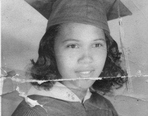 Barbara Johns in high school graduation cap and gown
