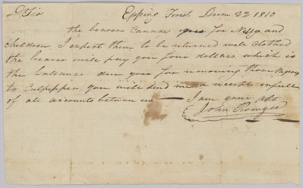 Handwritten letter concerning final payment for expenses in hiring out an enslaved family