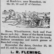 Scene of harness racing to advertise Afro-American Fair