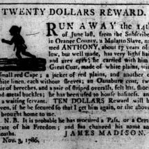 Advertisement placed by James Madison to capture an enslaved teenager includes a silhouette of a person running