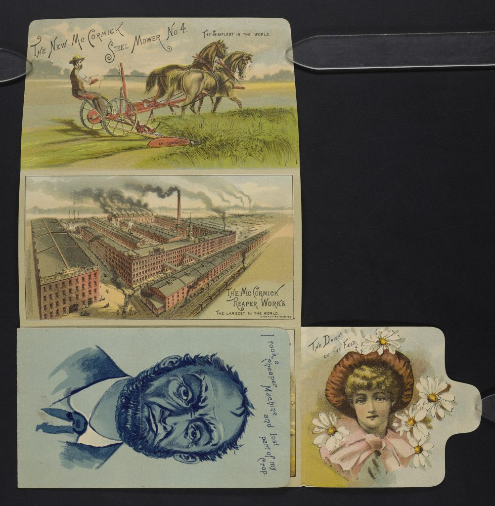 Four panels showing farmer on McCormick mower, McCormick factory complex, sad man who didn't buy a McCormick product, and a young girl surrounded by daisies