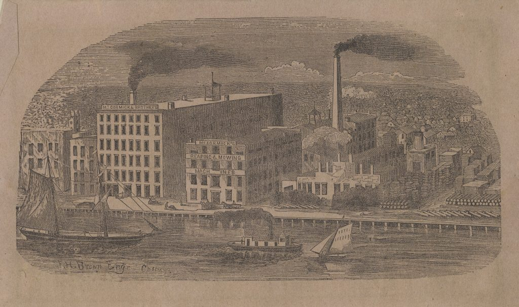 McCormick factory complex on the banks of the Chicago River