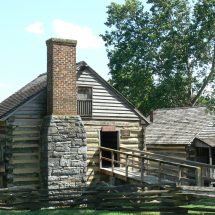 Exterior of McCormick's log blacksmith shop and grist mill in Rockbridge County