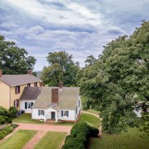 Aerial view of structures and garden at James Monroe's Highland