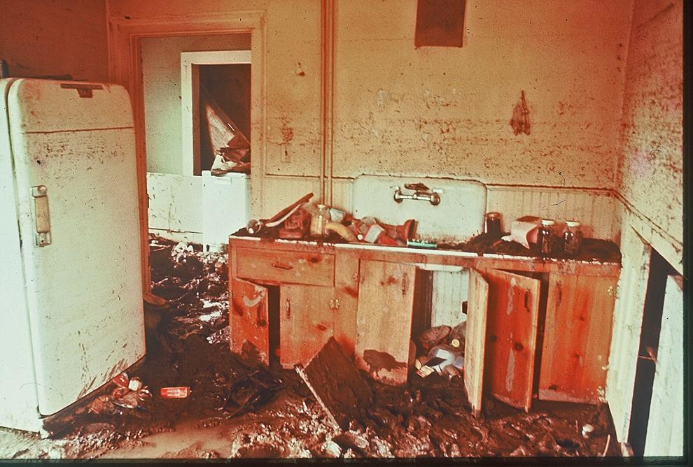 Inside a kitchen ruined by flood waters