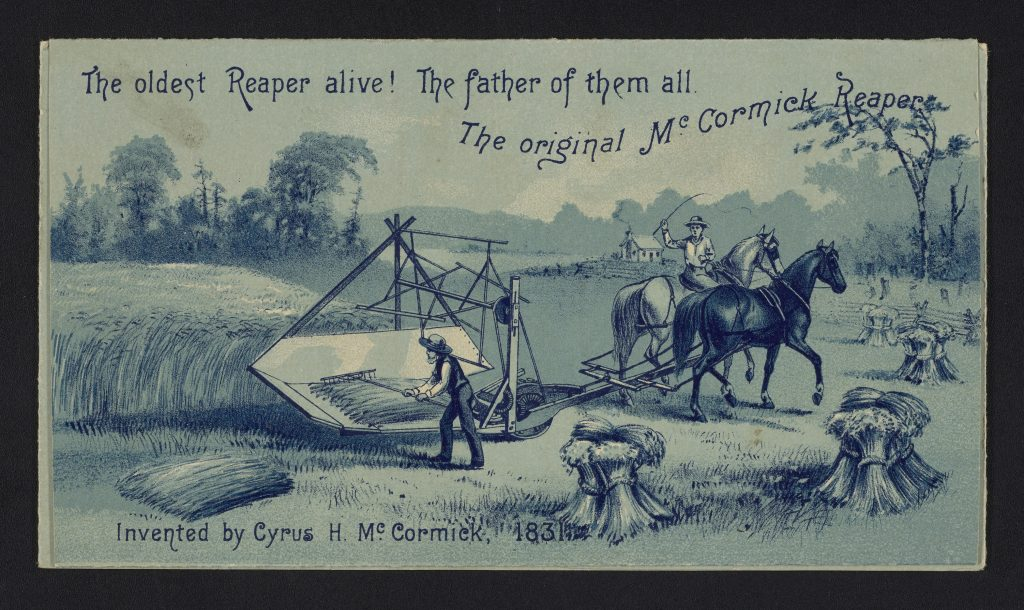 Advertisement for the first McCormick reaper showing a man on horseback and another man raking