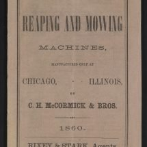 Catalogue cover of the McCormick company's product line in 1860