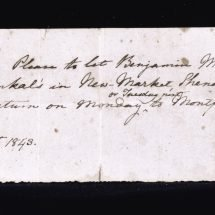 Handwritten pass allowing an enslaved man to travel from Montpelier to New Market