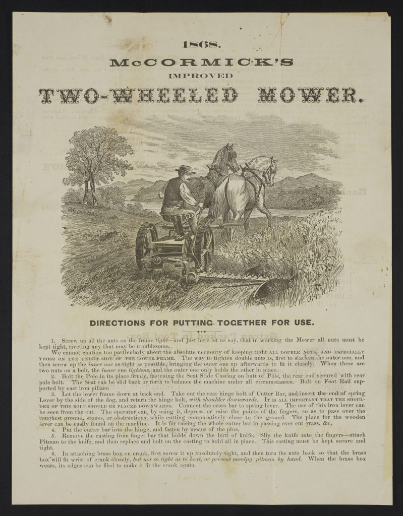 An engraved image of a farmer seated on a two-wheeled mower drawn by horses