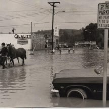 People and horses wade through a flooded street after Hurrricane Camille